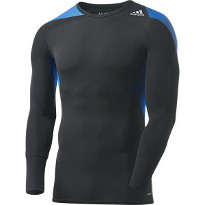 adidas Men's Tech Fit Cool Long Sleeve Compression Top - Black/Blue