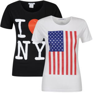 Taylor Women's 2-Pack Usa And I Heart Ny Graphic T-Shirts - White & Black