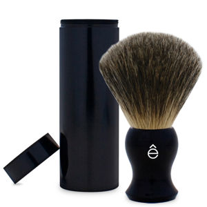 eShave Travel Fine Badger Hair Shaving Brush with Canister (Black)