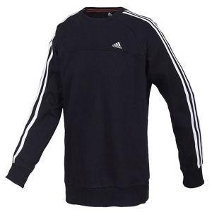 adidas Herren Essential 3 Streifen Crew Neck Sweatshirt SchwarzWeiß
