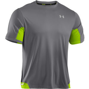 Under Armour Men's Heatgear Flyweight Running T-Shirt - Graphite/Hyper Green