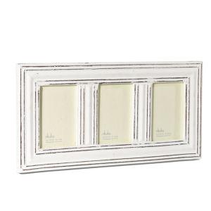 Nkuku Manyara Antique White Wooden 3 Window Frame - 4x6 Inches
