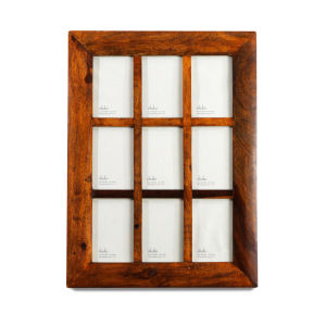 Nkuku Sheesham Brown Wooden 9 Window Frame - 4x6 Inches