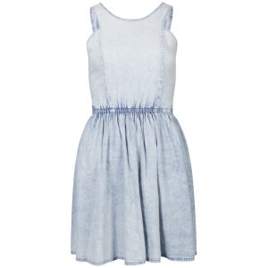 Influence Women's Denim Acid Wash Skater Dress - Blue