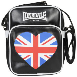 Lonsdale Zip Front Heart Messenger Bag - Black