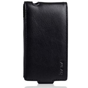 Knomo Leder Flip Case für iPhone 4/4S - Schwarz