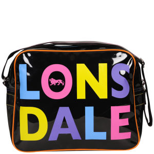 Lonsdale Multi Logo Patent Messenger Bag - Black