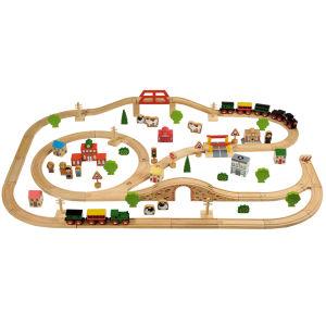 Tidlo Wooden Train Set (100 Pieces)