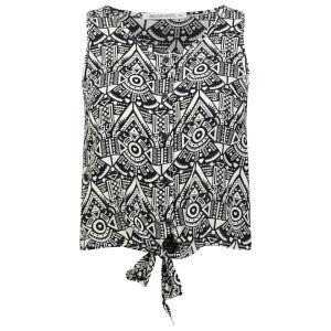 Brave Soul Frauen Kat Tie Front Shirt - Schwarz