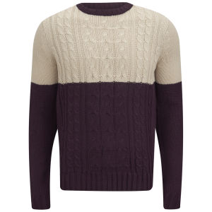 Soul Star Men's Pepper Sync Colour Block Knit Jumper - Burgundy