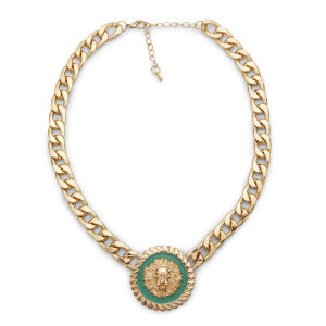 Impulse Women's Circle Chain Necklace - Gold/ Green