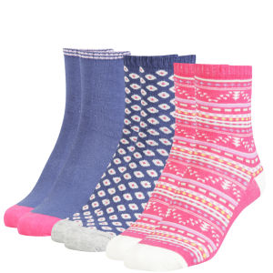 Miss Outrage Women's 3 Pack Socks Sweetbox Gift Set - Navy/Hot Pink