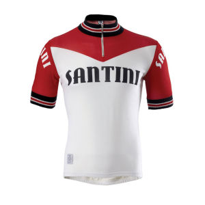 Santini Tech Wool Heritage Short Sleeve Jersey - White