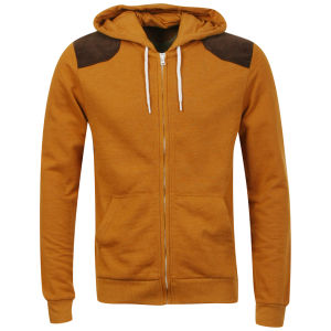 Brave Soul Men's Brutus Zip Through Hoody with Shoulder Patches - Mustard Marl