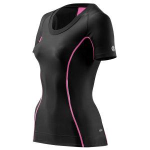 Skins Women's A200 Short Sleeve Top - Black/Pink