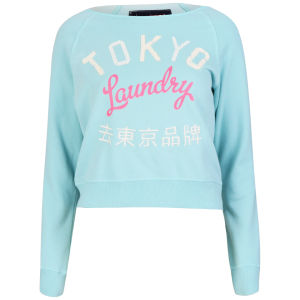 Tokyo Laundry Women's Long Sleeve Cropped Sweatshirt - Mint Green