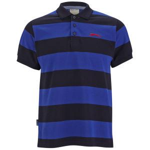 Slazenger Men's Platt Striped Polo Shirt - Navy/Sky/Red