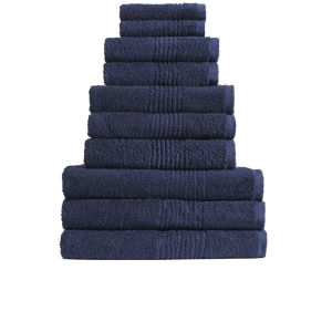 Highams 100% Egyptian Cotton 10 Piece Towel Bale (550gsm) - Navy