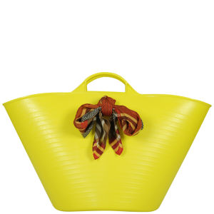 Lilifi Medium Beach Bucket Bag With Unique Vintage Scarf- Yellow