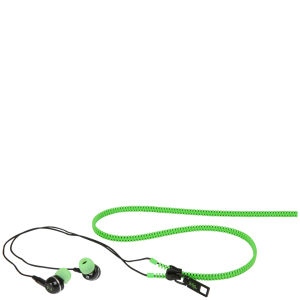 iHip Zip Tangle Free Zippered Earphones - Green