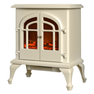Warmlite 2000W Log Effect Stove Fire - Cream