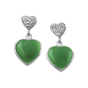 Silver Plated Jade Green Heart Drop Earrings
