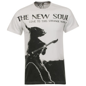 Brave Soul Men's Large Chest Print T-Shirt - White