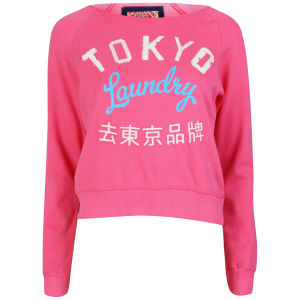 Tokyo Laundry Women's Long Sleeve Cropped Sweatshirt - Hot Pink