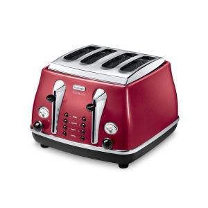 De'Longhi CTOM4003 Icona Micalite 4 Slice Toaster - Red