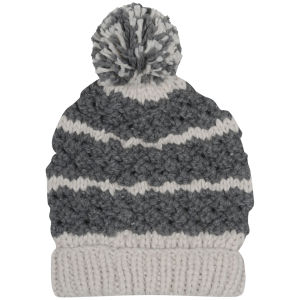 Women's Two Tone Bobble Knit Beanie - Charcoal & Stone