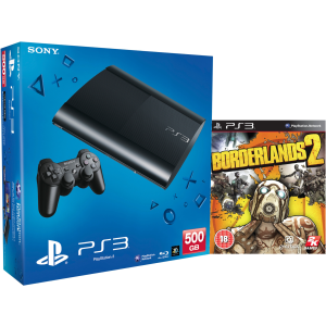 PS3: New Sony PlayStation 3 Slim Console (500 GB) - Black - Includes Borderlands 2