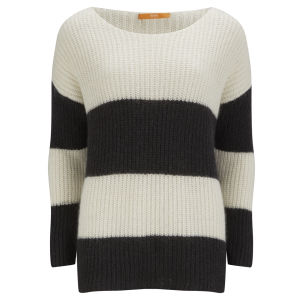 BOSS Orange Women's Oversize Stripe Chunky Knit Jumper - 001 Black/White