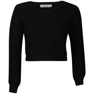 Moku Women's Crop Fisherman Knit Jumper - Black