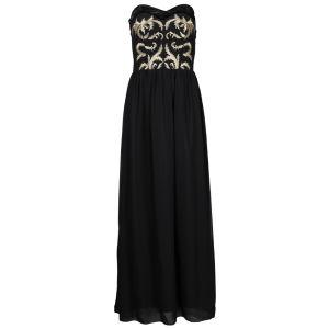 Little Mistress Women's  Embroidered Bandeau Chiffon Maxi Dress - Black Gold