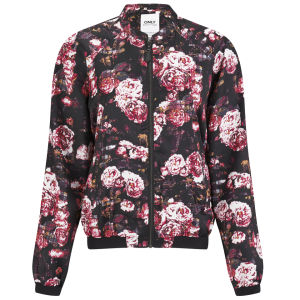 ONLY Women's Rayne Floral Bomber Jacket - Black