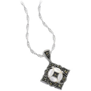 Silver Plated Marcasite Diamond Shape Pendant
