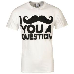 Goodie Two Sleeves Men's I Mustache You A Question Graphic T-Shirt - White