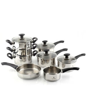 Russell Hobbs 8 Piece Stainless Steel Nero Pan Set