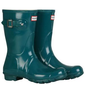 Hunter Women's Original Short Gloss Wellington Boots - Lagoon Green