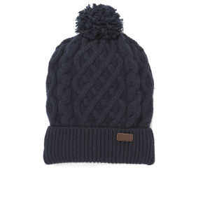 Barbour Cable Knit Beanie Hat - Navy