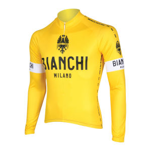 Bianchi Men's Leggenda Long Sleeve Full Zip Jersey - Yellow