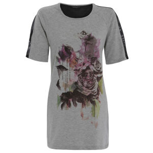 Damned Delux Women's Floral Text Sweat T-Shirt - Grey