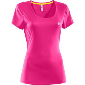 Under Armour Women's Heatgear Fly Weight T-Shirt - Pink Adelic/Reflective