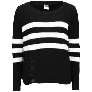 Vero Moda Women's Striped Button Hem Jumper - Black