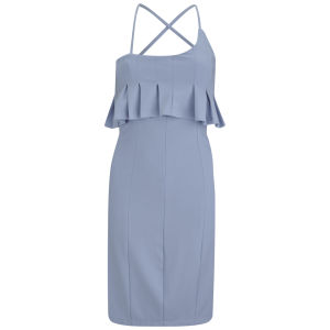 Lavish Alice Women's Peplum Bodycon Dress - Powder Blue