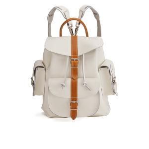 Grafea Villa Bianca Medium Leather Rucksack - White/Tan