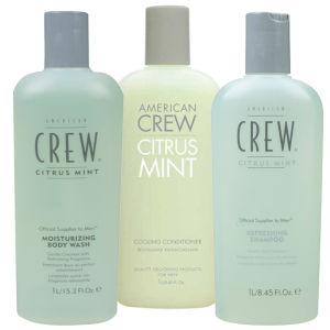 American Crew Citrus Mint Trio (Shampoo 1L, Conditioner 1L & Body Wash 450ml)