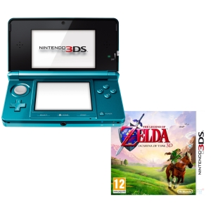 Nintendo 3ds console aqua blue bundle includes the legend of zelda ocarina of time 3ds - Ocarina of time 3ds console ...