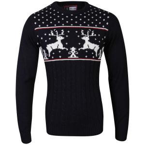 Christmas Branding Reindeer Knitted Jumper - Dark Navy