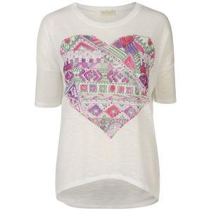 Nova Women's Aztec Heart Oversize T-Shirt - Fuchsia